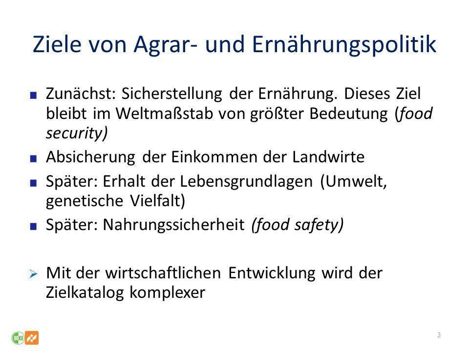 Ziele von Agrar- und Ernährungspolitik Zunächst: Sicherstellung der Ernährung. Dieses Ziel bleibt im Weltmaßstab von größter Bedeutung (food security)