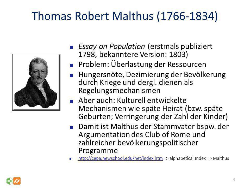 Thomas Robert Malthus (1766-1834) Essay on Population (erstmals publiziert 1798, bekanntere Version: 1803) Problem: Überlastung der Ressourcen Hungers
