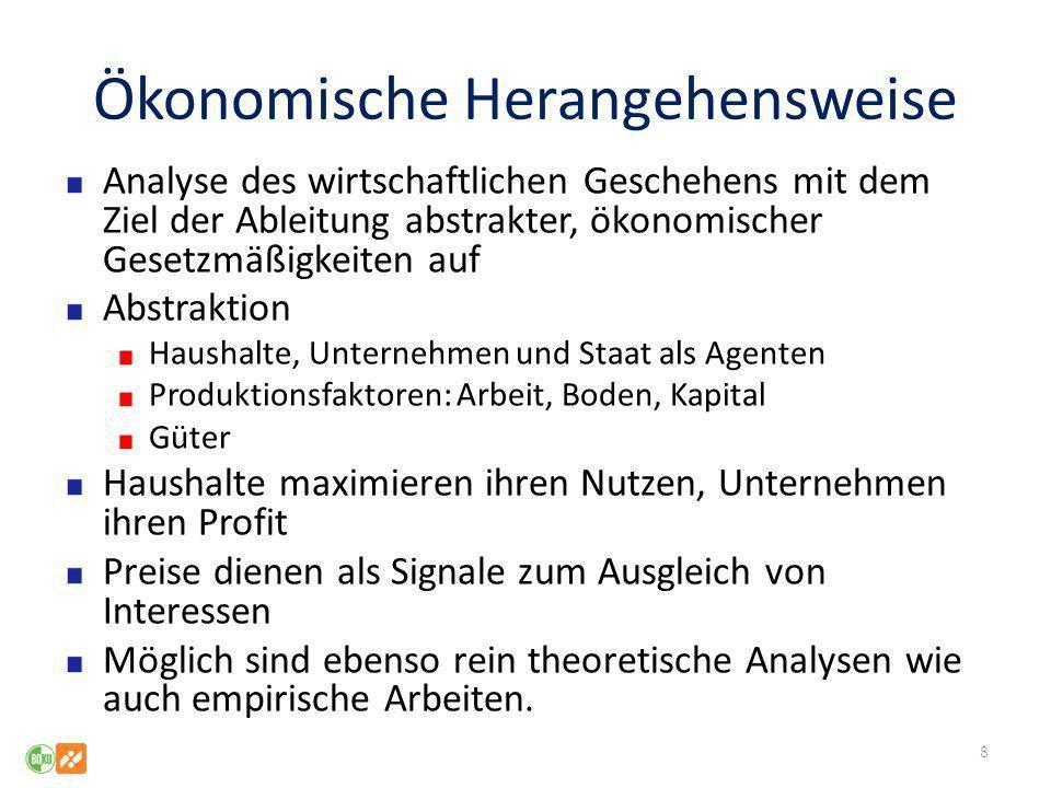 Ökonomische Herangehensweise Analyse des wirtschaftlichen Geschehens mit dem Ziel der Ableitung abstrakter, ökonomischer Gesetzmäßigkeiten auf Abstrak