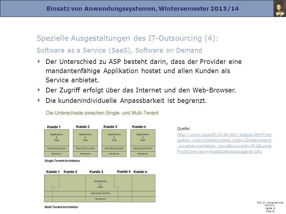 Einsatz von Anwendungssystemen, Wintersemester 2013/14 Prof. Dr. Herrad Schmidt WS 13/14 Kapitel 9 Folie 12 Spezielle Ausgestaltungen des IT-Outsourci