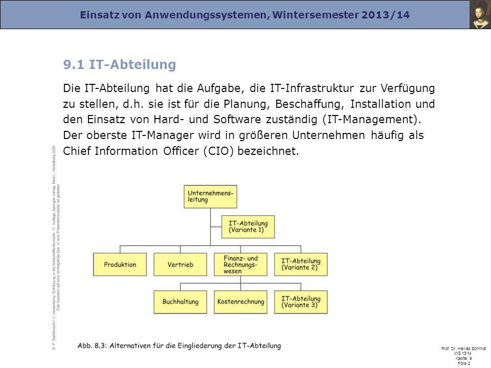 Einsatz von Anwendungssystemen, Wintersemester 2013/14 Prof. Dr. Herrad Schmidt WS 13/14 Kapitel 9 Folie 2 9.1 IT-Abteilung Die IT-Abteilung hat die A