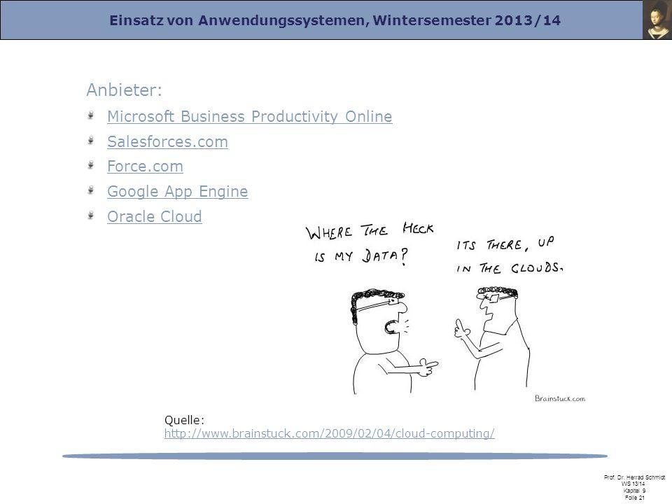 Einsatz von Anwendungssystemen, Wintersemester 2013/14 Prof. Dr. Herrad Schmidt WS 13/14 Kapitel 9 Folie 21 Anbieter: Microsoft Business Productivity