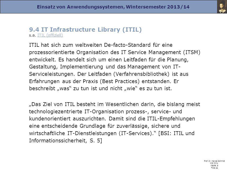 Einsatz von Anwendungssystemen, Wintersemester 2013/14 Prof. Dr. Herrad Schmidt WS 13/14 Kapitel 9 Folie 22 9.4 IT Infrastructure Library (ITIL) s.a.