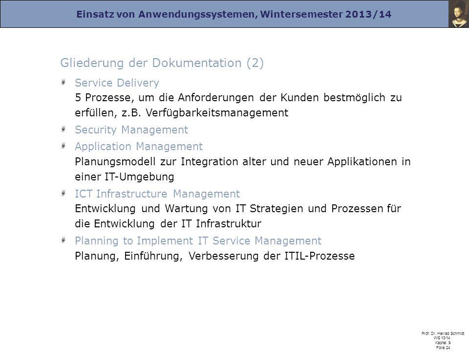 Einsatz von Anwendungssystemen, Wintersemester 2013/14 Prof. Dr. Herrad Schmidt WS 13/14 Kapitel 9 Folie 24 Gliederung der Dokumentation (2) Service D