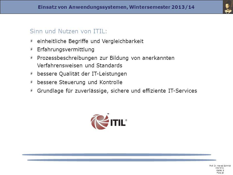 Einsatz von Anwendungssystemen, Wintersemester 2013/14 Prof. Dr. Herrad Schmidt WS 13/14 Kapitel 9 Folie 25 Sinn und Nutzen von ITIL: einheitliche Beg