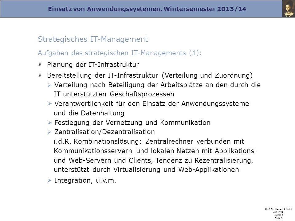 Einsatz von Anwendungssystemen, Wintersemester 2013/14 Prof. Dr. Herrad Schmidt WS 13/14 Kapitel 9 Folie 3 Strategisches IT-Management Aufgaben des st