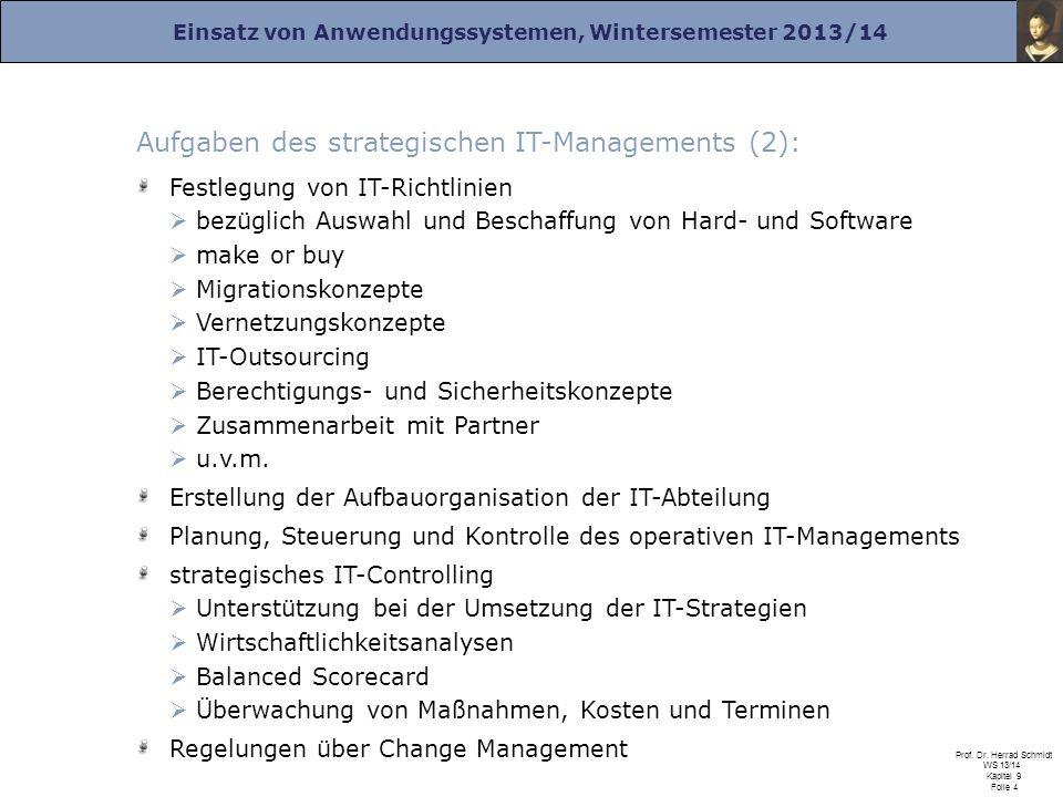 Einsatz von Anwendungssystemen, Wintersemester 2013/14 Prof. Dr. Herrad Schmidt WS 13/14 Kapitel 9 Folie 4 Aufgaben des strategischen IT-Managements (