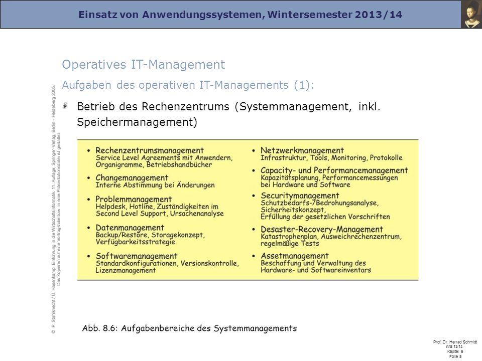 Einsatz von Anwendungssystemen, Wintersemester 2013/14 Prof. Dr. Herrad Schmidt WS 13/14 Kapitel 9 Folie 5 Operatives IT-Management Aufgaben des opera
