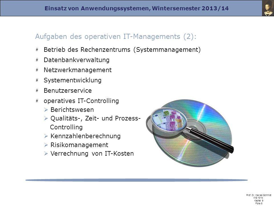 Einsatz von Anwendungssystemen, Wintersemester 2013/14 Prof. Dr. Herrad Schmidt WS 13/14 Kapitel 9 Folie 6 Aufgaben des operativen IT-Managements (2):