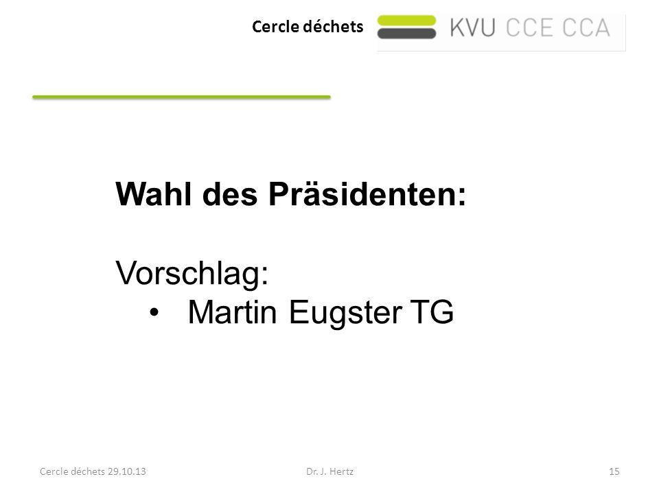 Cercle déchets Cercle déchets 29.10.13Dr. J. Hertz15 Wahl des Präsidenten: Vorschlag: Martin Eugster TG