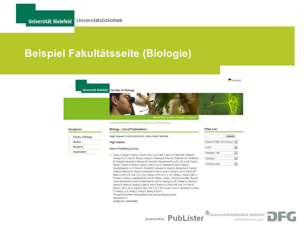 Universitätsbibliothek Beispiel Fakultätsseite (Biologie)