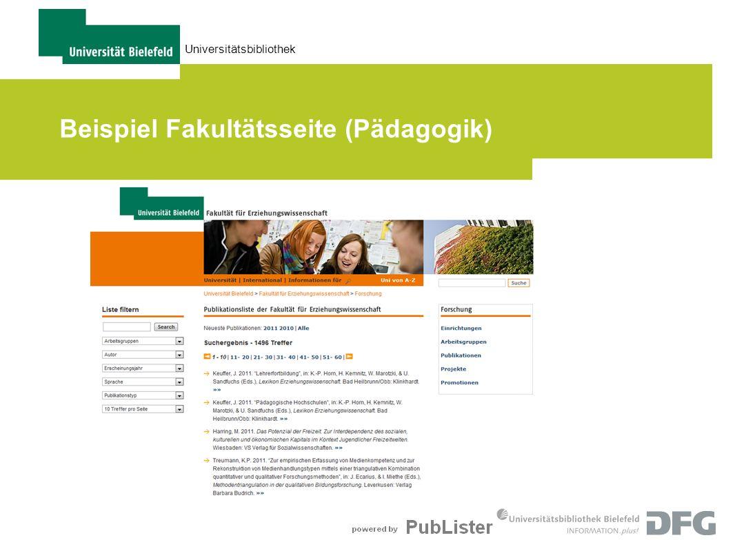 Universitätsbibliothek Beispiel Fakultätsseite (Pädagogik)
