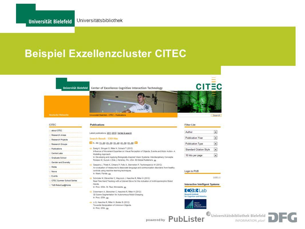 Universitätsbibliothek Beispiel Exzellenzcluster CITEC