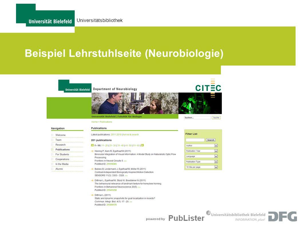 Universitätsbibliothek Beispiel Lehrstuhlseite (Neurobiologie)