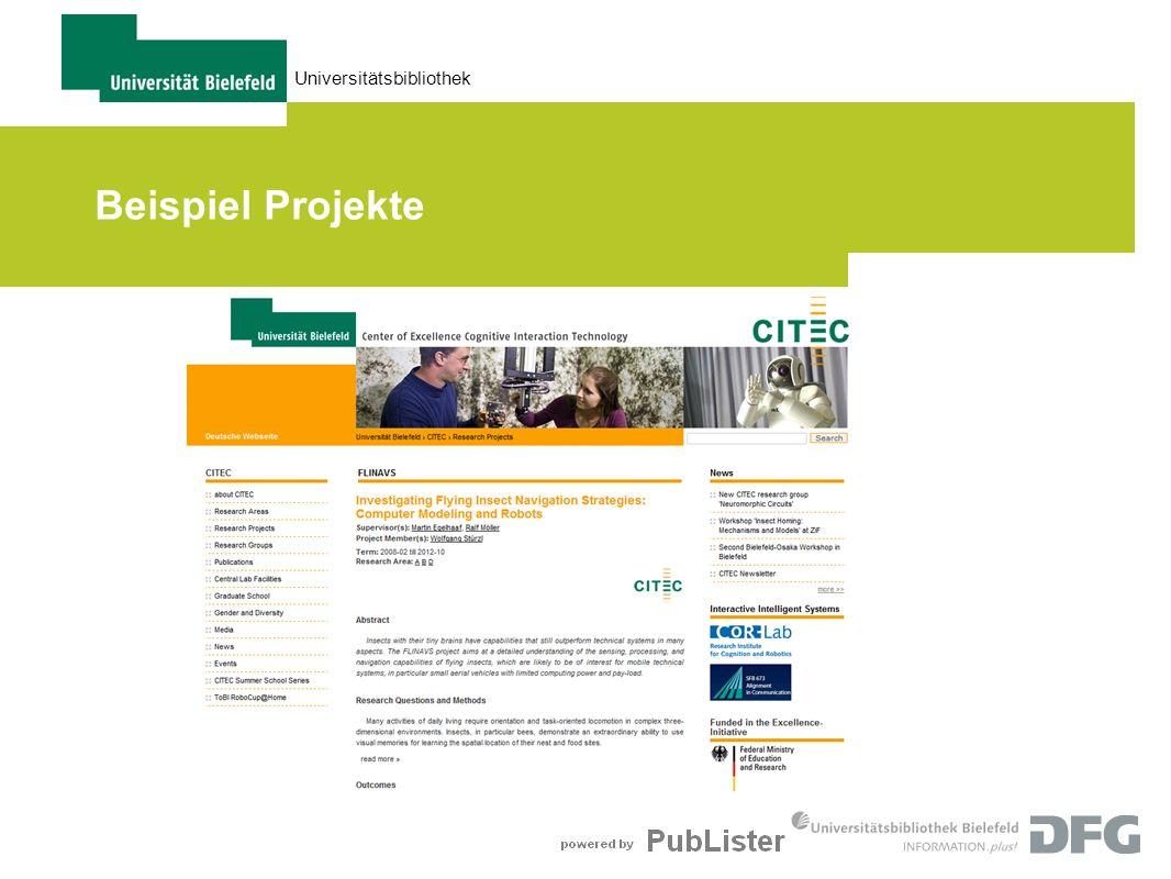 Universitätsbibliothek Beispiel Projekte