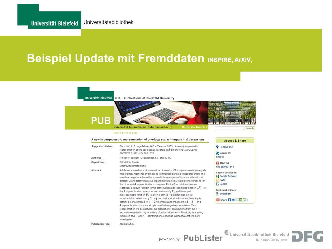 Universitätsbibliothek Beispiel Update mit Fremddaten INSPIRE, ArXiV,
