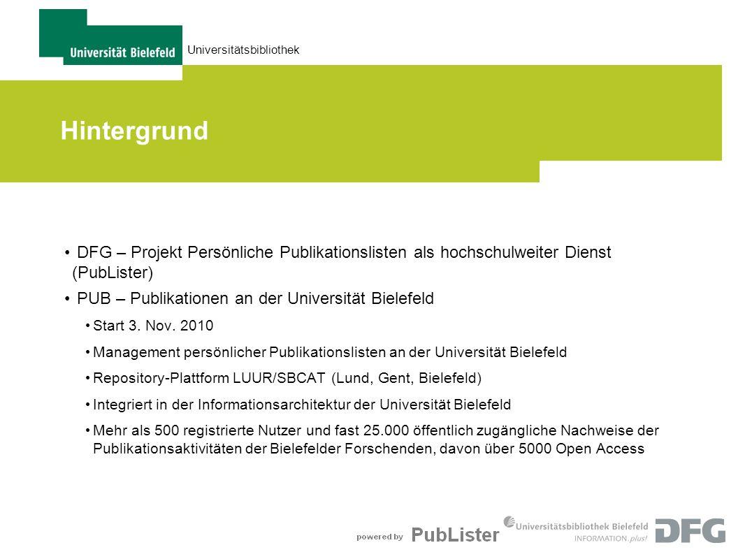 Universitätsbibliothek Hintergrund DFG – Projekt Persönliche Publikationslisten als hochschulweiter Dienst (PubLister) PUB – Publikationen an der Univ