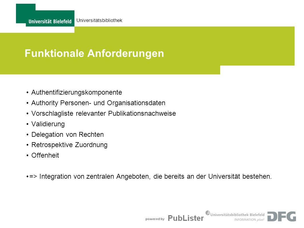 Universitätsbibliothek Funktionale Anforderungen Authentifizierungskomponente Authority Personen- und Organisationsdaten Vorschlagliste relevanter Pub