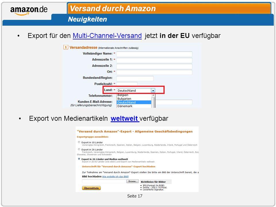 Export für den Multi-Channel-Versand jetzt in der EU verfügbarMulti-Channel-Versand Seite 17 Versand durch Amazon Neuigkeiten Export von Medienartikel
