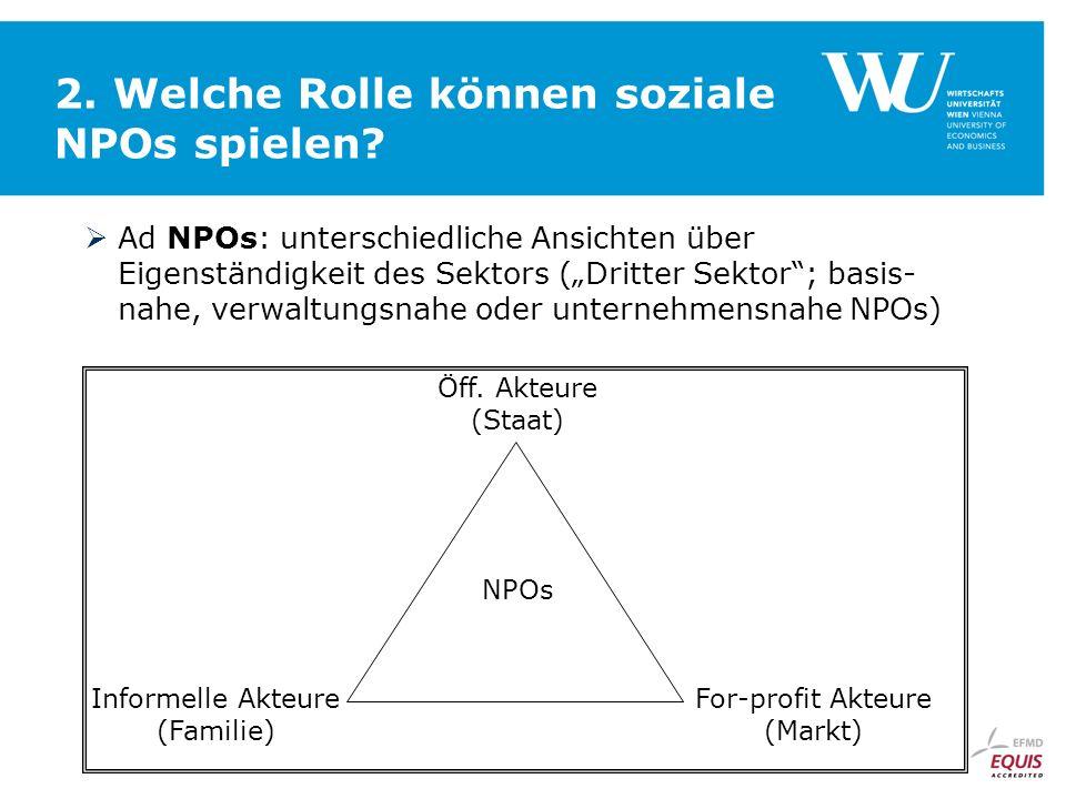 2. Welche Rolle können soziale NPOs spielen? Ad NPOs: unterschiedliche Ansichten über Eigenständigkeit des Sektors (Dritter Sektor; basis- nahe, verwa