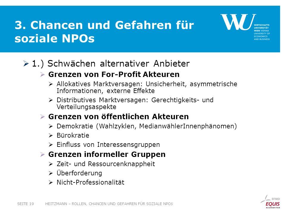3. Chancen und Gefahren für soziale NPOs 1.) Schwächen alternativer Anbieter Grenzen von For-Profit Akteuren Allokatives Marktversagen: Unsicherheit,