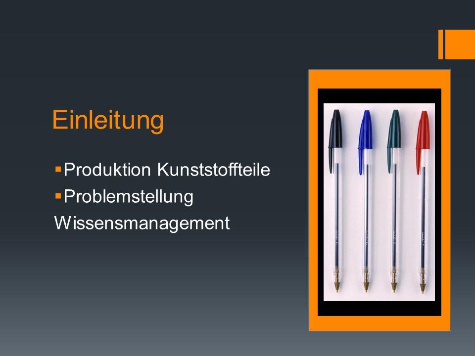 Einleitung Produktion Kunststoffteile Problemstellung Wissensmanagement