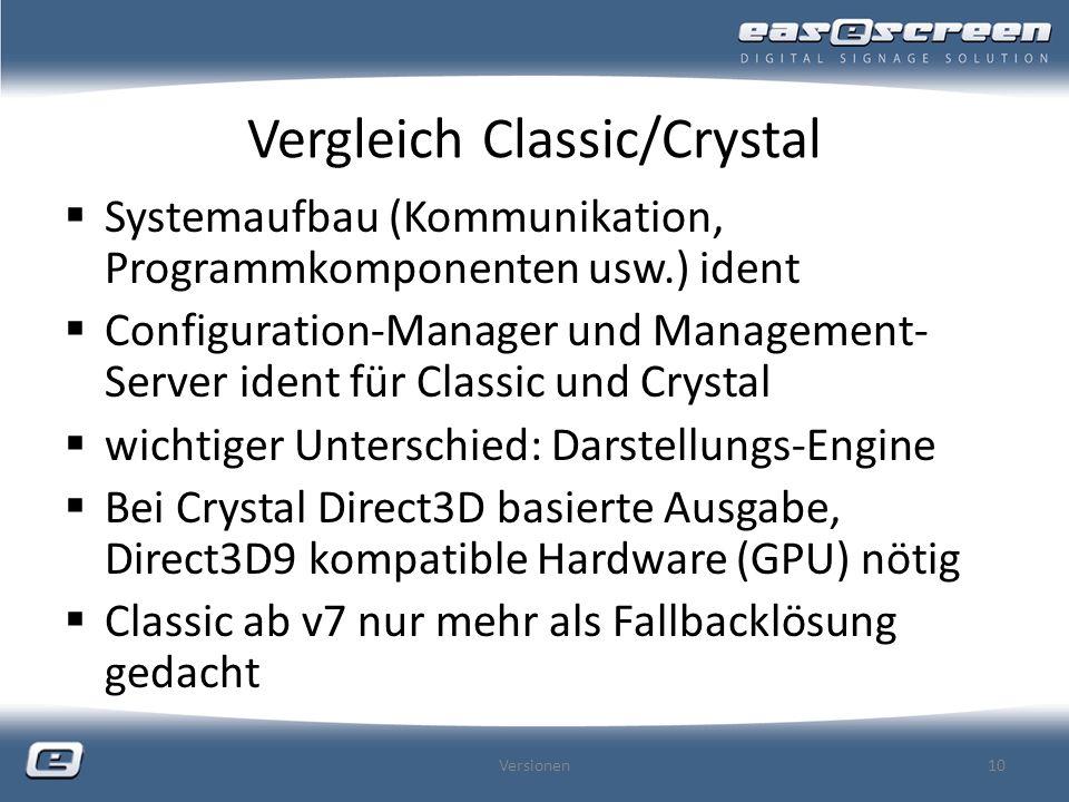 Vergleich Classic/Crystal Systemaufbau (Kommunikation, Programmkomponenten usw.) ident Configuration-Manager und Management- Server ident für Classic