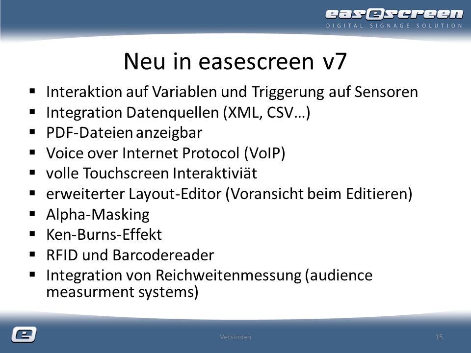 Neu in easescreen v7 Interaktion auf Variablen und Triggerung auf Sensoren Integration Datenquellen (XML, CSV…) PDF-Dateien anzeigbar Voice over Inter