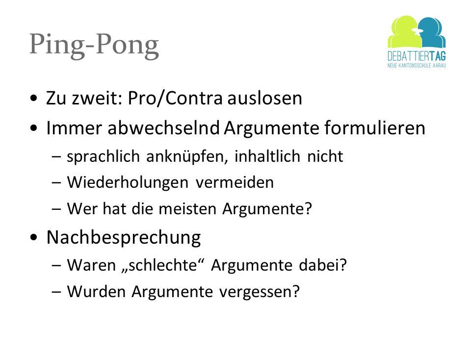 Ping-Pong Zu zweit: Pro/Contra auslosen Immer abwechselnd Argumente formulieren –sprachlich anknüpfen, inhaltlich nicht –Wiederholungen vermeiden –Wer