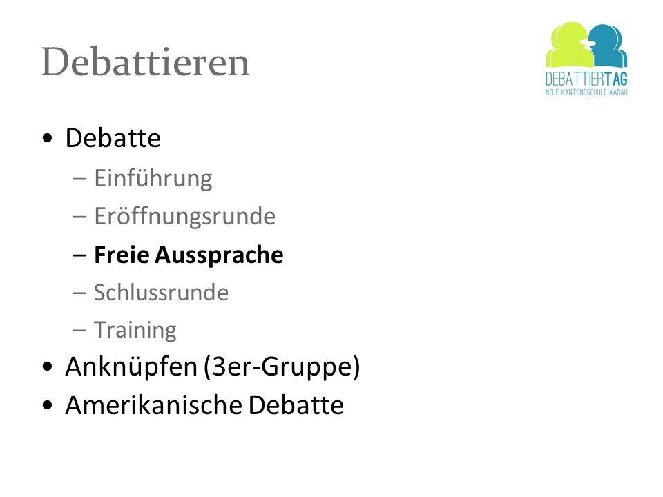 Debattieren Debatte –Einführung –Eröffnungsrunde –Freie Aussprache –Schlussrunde –Training Anknüpfen (3er-Gruppe) Amerikanische Debatte