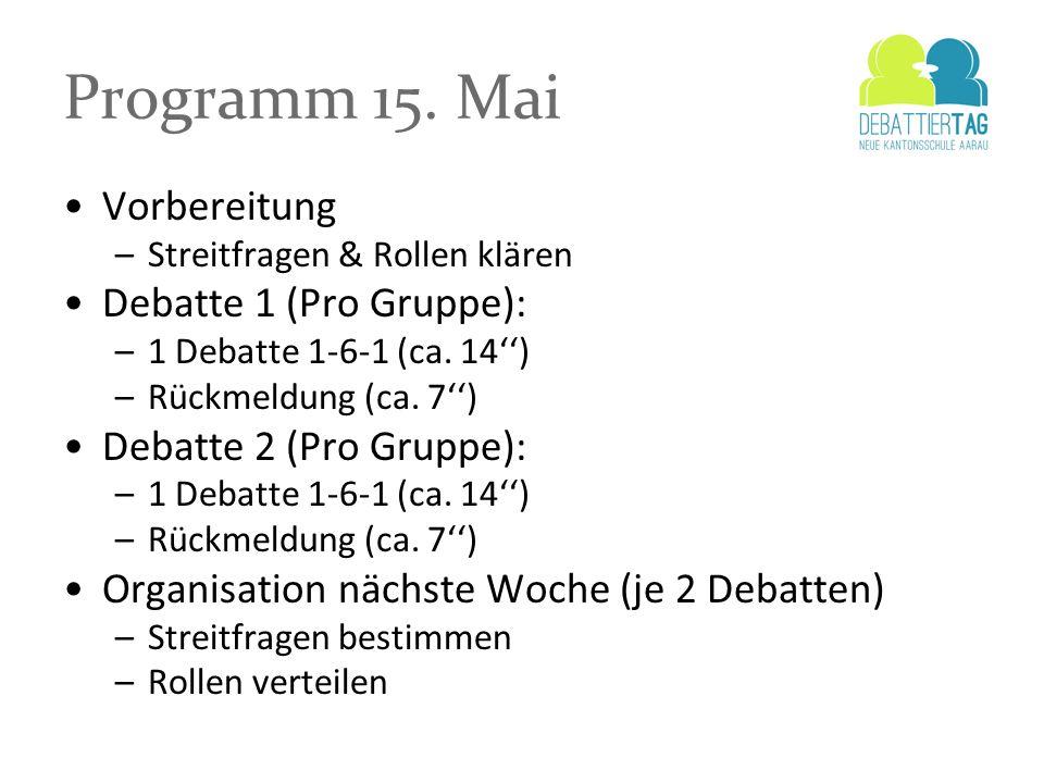 Programm 15. Mai Vorbereitung –Streitfragen & Rollen klären Debatte 1 (Pro Gruppe): –1 Debatte 1-6-1 (ca. 14) –Rückmeldung (ca. 7) Debatte 2 (Pro Grup