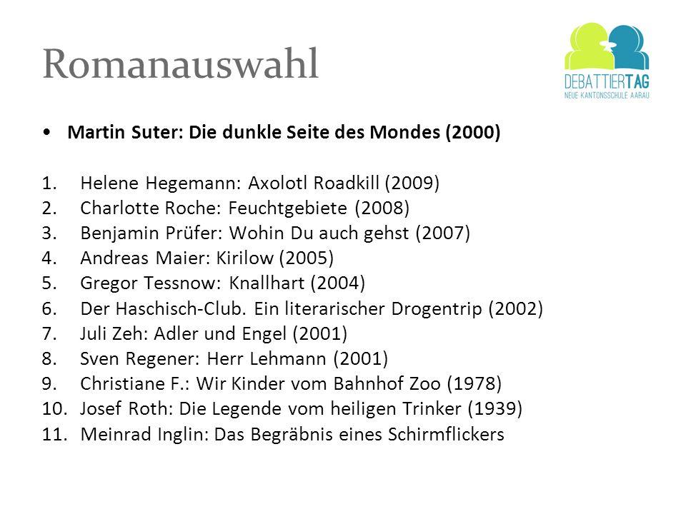 Romanauswahl Martin Suter: Die dunkle Seite des Mondes (2000) 1.Helene Hegemann: Axolotl Roadkill (2009) 2.Charlotte Roche: Feuchtgebiete (2008) 3.Ben