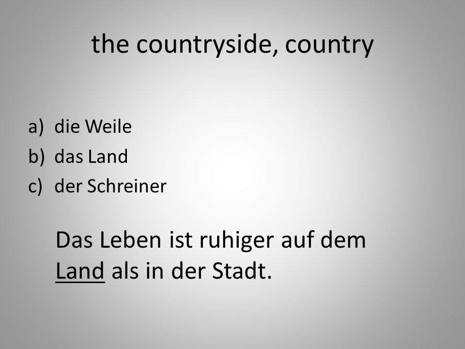 the countryside, country a)die Weile b)das Land c)der Schreiner Das Leben ist ruhiger auf dem Land als in der Stadt.