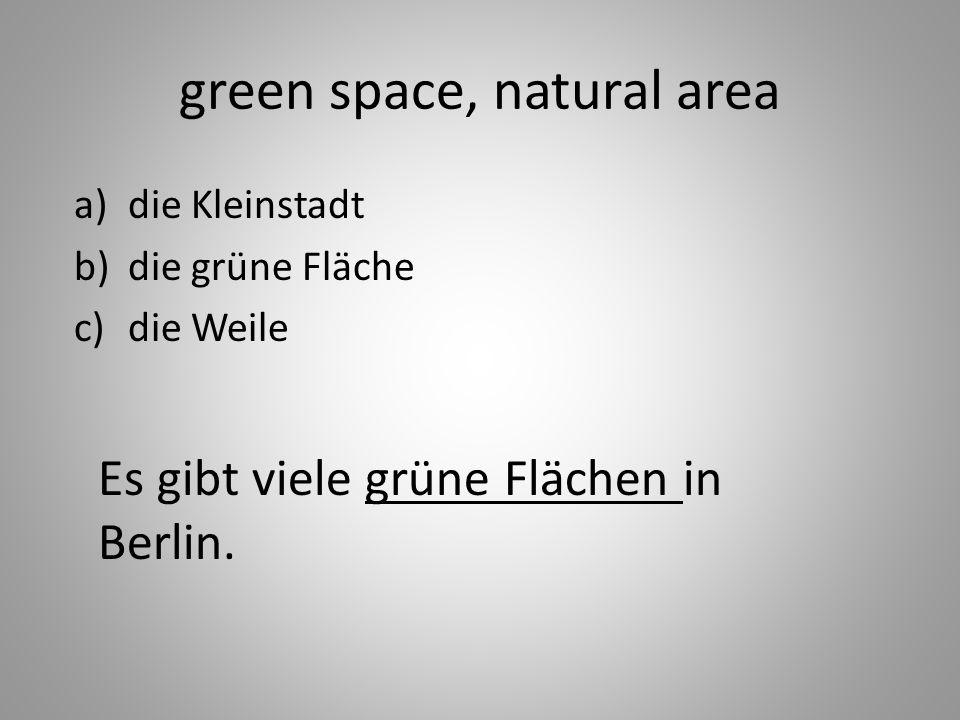green space, natural area a)die Kleinstadt b)die grüne Fläche c)die Weile Es gibt viele grüne Flächen in Berlin.