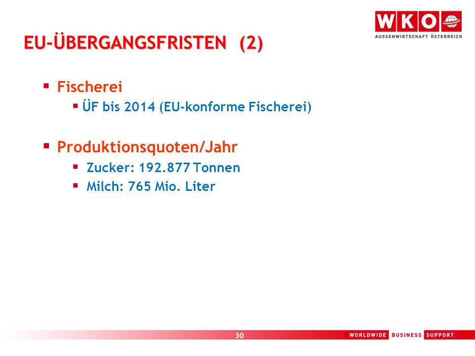 30 EU-ÜBERGANGSFRISTEN (2) Fischerei ÜF bis 2014 (EU-konforme Fischerei) Produktionsquoten/Jahr Zucker: 192.877 Tonnen Milch: 765 Mio. Liter