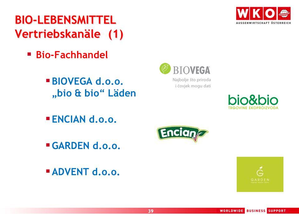39 BIO-LEBENSMITTEL Vertriebskanäle (1) Bio-Fachhandel BIOVEGA d.o.o. bio & bio Läden ENCIAN d.o.o. GARDEN d.o.o. ADVENT d.o.o.