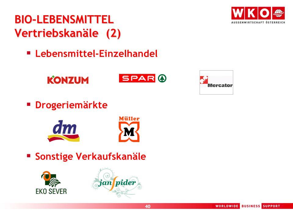 40 BIO-LEBENSMITTEL Vertriebskanäle (2) Lebensmittel-Einzelhandel Drogeriemärkte Sonstige Verkaufskanäle