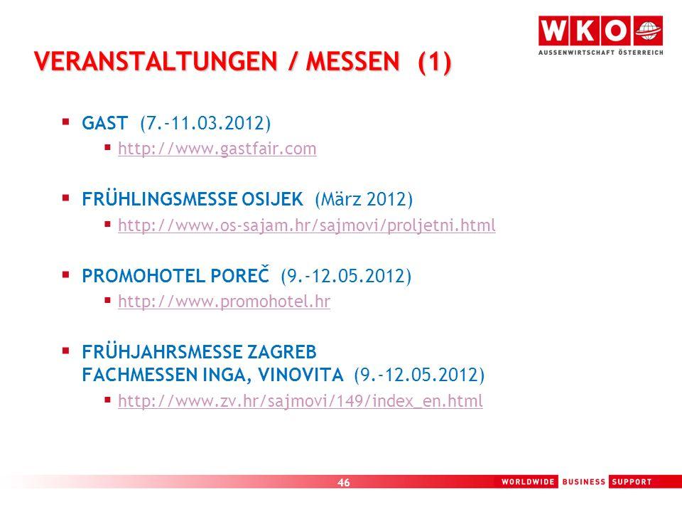 46 VERANSTALTUNGEN / MESSEN (1) GAST (7.-11.03.2012) http://www.gastfair.com FRÜHLINGSMESSE OSIJEK (März 2012) http://www.os-sajam.hr/sajmovi/proljetn