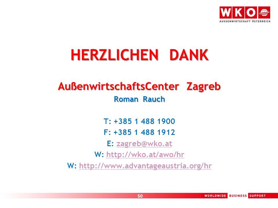 50 HERZLICHEN DANK AußenwirtschaftsCenter Zagreb Roman Rauch T: +385 1 488 1900 F: +385 1 488 1912 E: zagreb@wko.atzagreb@wko.at W: http://wko.at/awo/
