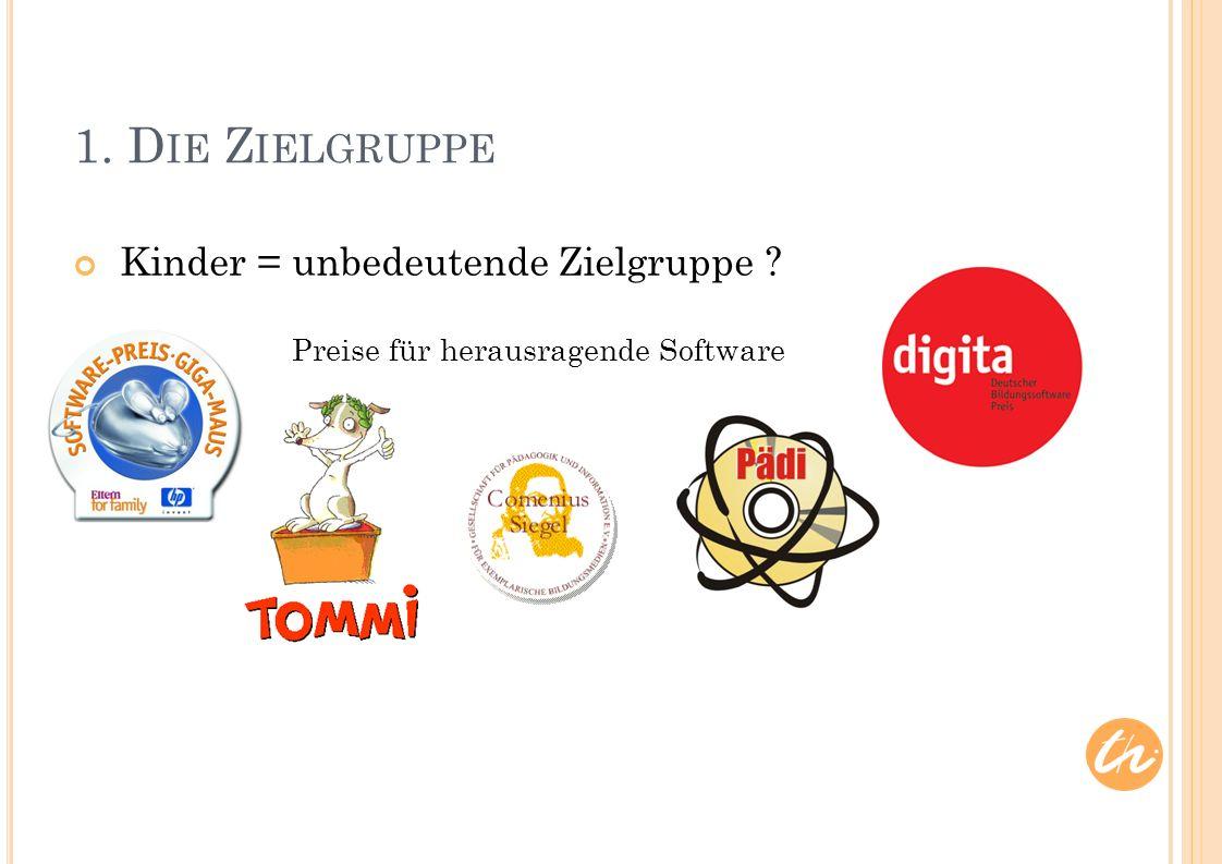 Kinder = unbedeutende Zielgruppe 1. D IE Z IELGRUPPE Preise für herausragende Software