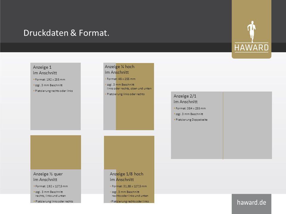 Druckdaten & Format. Anzeige ½ quer im Anschnitt Format: 192 x 127,5 mm zzgl.