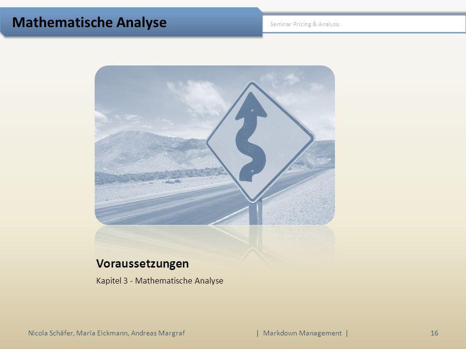 Voraussetzungen Kapitel 3 - Mathematische Analyse Nicola Schäfer, Maria Eickmann, Andreas Margraf | Markdown Management | 16 Seminar Pricing & Analysis Mathematische Analyse