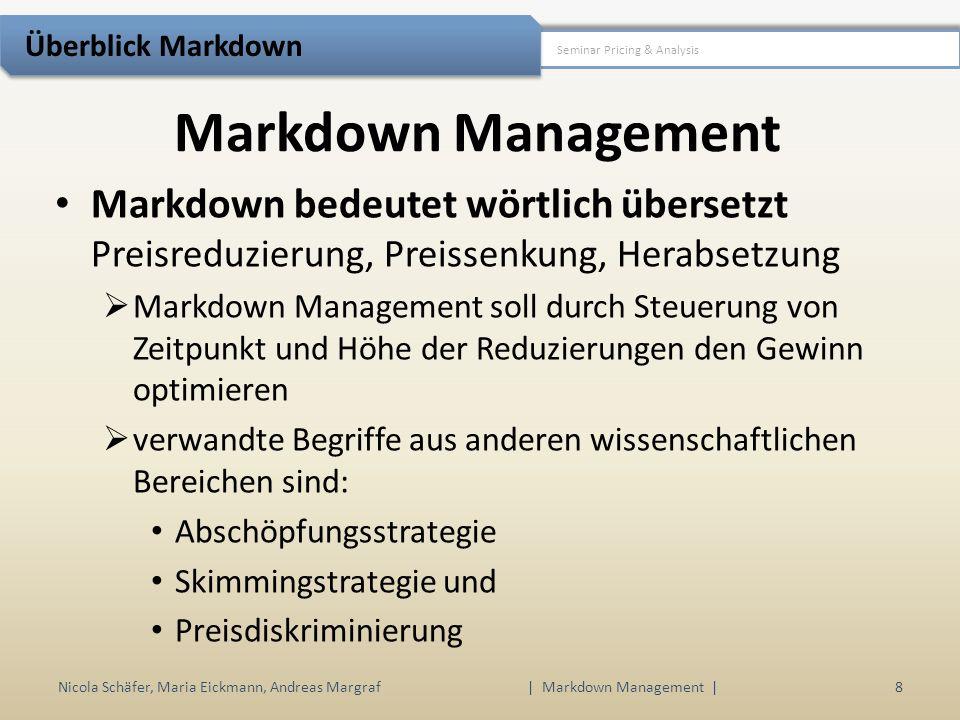 1.Motivation 2.Überblick Markdown 3.Mathematische Analyse 4.Fallbeispiele 5.Ausblick Nicola Schäfer, Maria Eickmann, Andreas Margraf29 | Markdown Management | Seminar Pricing & Analysis Fallbeispiele