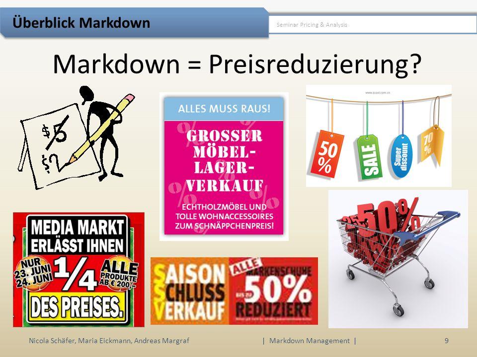 Markdown Management Nicola Schäfer, Maria Eickmann, Andreas Margraf | Markdown Management | 10 Seminar Pricing & Analysis Überblick Markdown permanente Preisreduzierung – hier soll nur die letzte Phase im Lebenszyklus eines Produkts betrachtet werden – d.h.