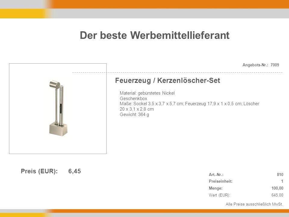 Material: gebürstetes Nickel Geschenkbox Maße: Sockel 3,5 x 3,7 x 5,7 cm; Feuerzeug 17,9 x 1 x 0,5 cm; Löscher 20 x 3,1 x 2,8 cm Gewicht: 364 g Alle Preise ausschließlich MwSt.