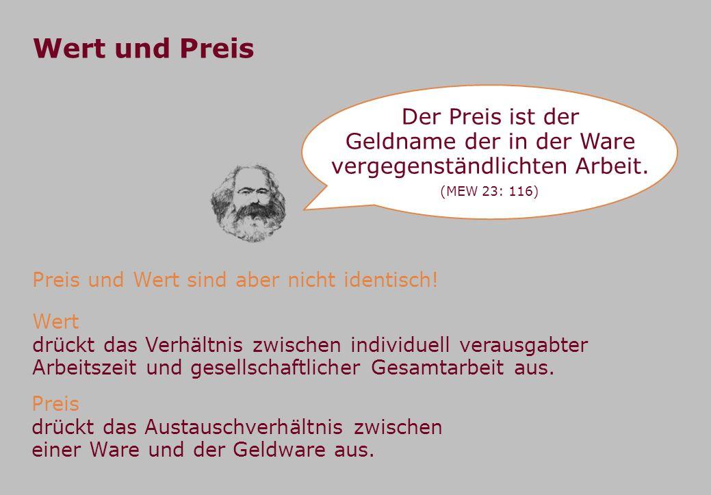 Wert und Preis Der Preis ist der Geldname der in der Ware vergegenständlichten Arbeit. (MEW 23: 116) Preis und Wert sind aber nicht identisch! Wert dr