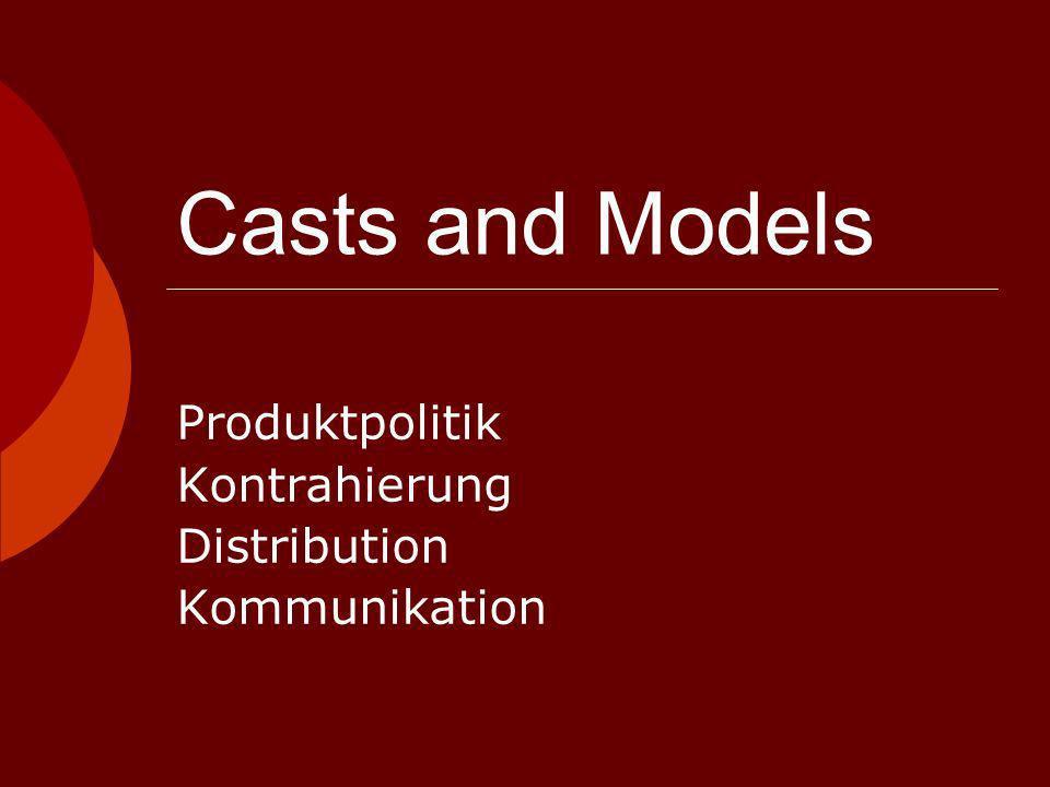 Casts and Models Erscheinung: 6 x jährlich Special Interest Zeitschrift 80.000 Startauflage 50.000 nachher als konstante Zahl Zielgruppe: - Be – to – be: Agenturen - Be – to – ce: Modeinteressierte, Models