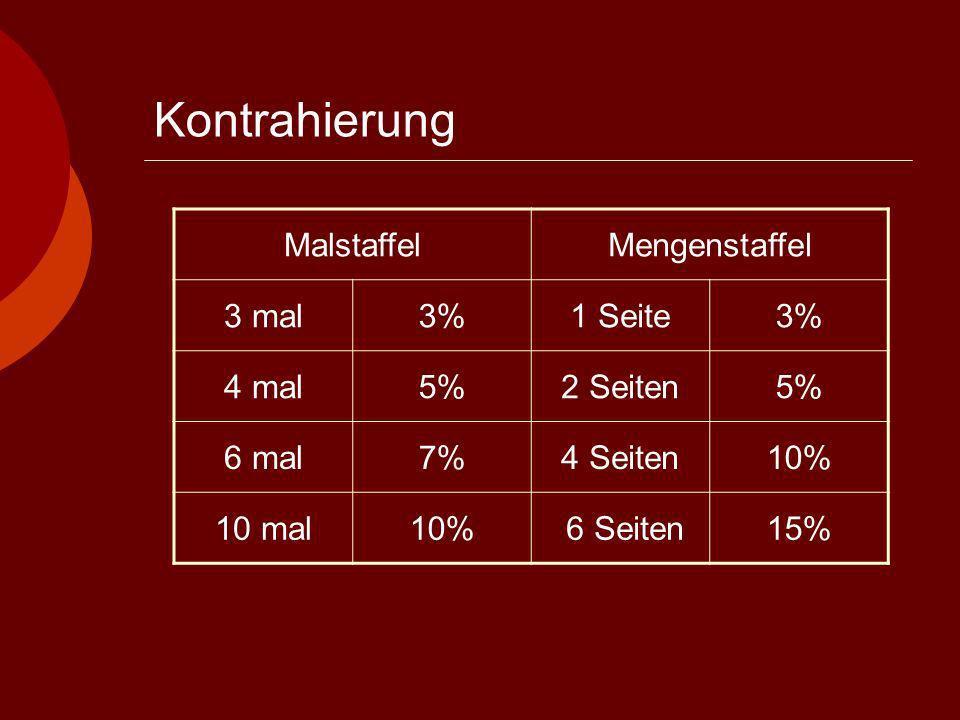 Kontrahierung MalstaffelMengenstaffel 3 mal3%1 Seite3% 4 mal5%2 Seiten5% 6 mal7%4 Seiten10% 10 mal10% 6 Seiten15%