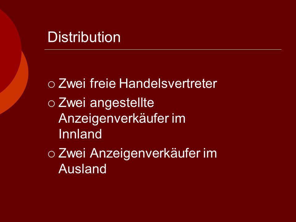 Distribution Zwei freie Handelsvertreter Zwei angestellte Anzeigenverkäufer im Innland Zwei Anzeigenverkäufer im Ausland