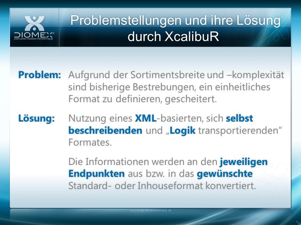 Problemstellungen und ihre Lösung durch XcalibuR (c) by Diomex Software GmbH & Co. KG Problem:Aufgrund der Sortimentsbreite und –komplexität sind bish